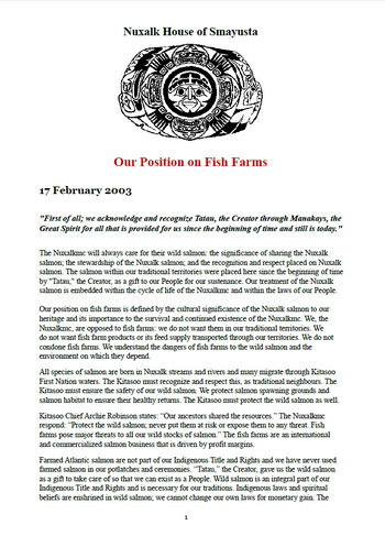 Nuxalk Smayusta: Our Position on Fish Farms
